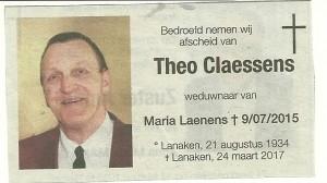 Overlijden Theo Claessens